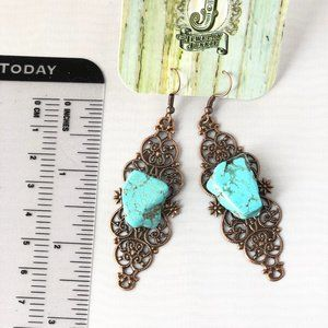 Turquoise and Copper Look Filigree Earrings NWT